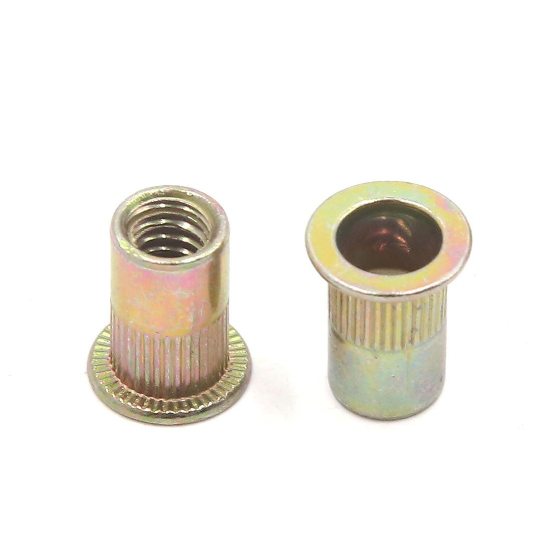 1//4-20 Zinc Plated Steel Rivet Flange Head Nut Flat Head Threaded Rivnut