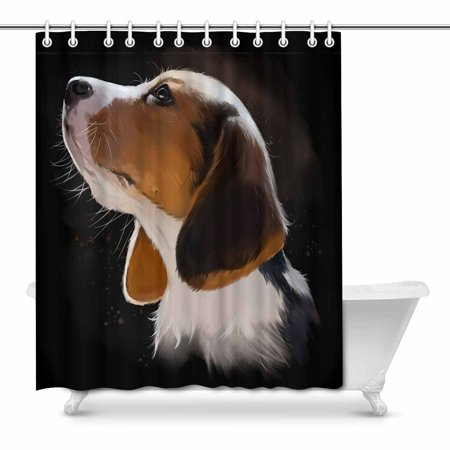 . POP Puppy Dog Watercolor Bathroom Decor Effect Shower Curtains 66x72
