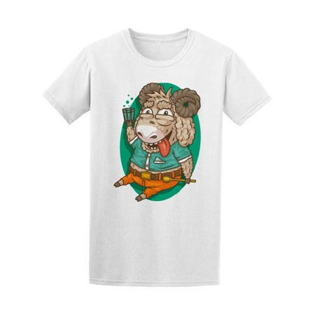 794472bb Teeblox - Cartoon Happy Sheep Drinking Men's Tee - Image by Shutterstock -  Walmart.com