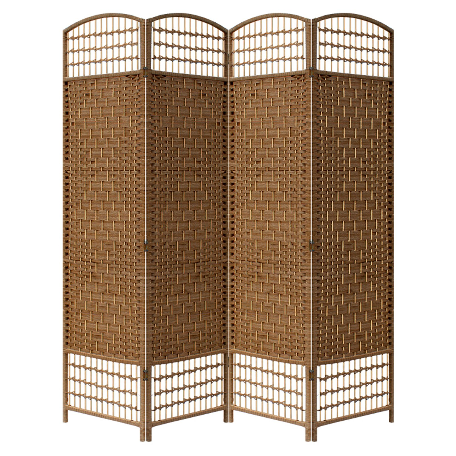 folding privacy screen indoor 4 panel brown partition room divider