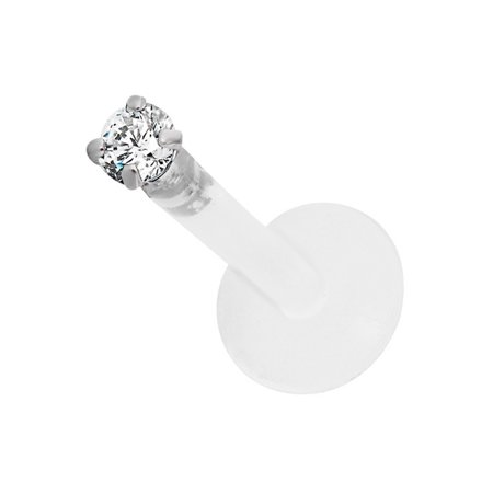 16g 8mm BioFlex Tragus Earring, Helix Earring and Labret Piercing Stud, 2mm Clear CZ Crystal