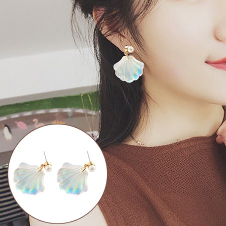 Heepo Colorful Resin Mermaid Rainbow Imitation Pearl Shell Women Stud Earrings Gift
