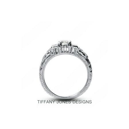 Tiffany Engraved Round Tag - 0.43ct tw I-SI2 VG-Cut Round AGI Natural Diamonds 14k Vintage Engraved Ring 3.7g