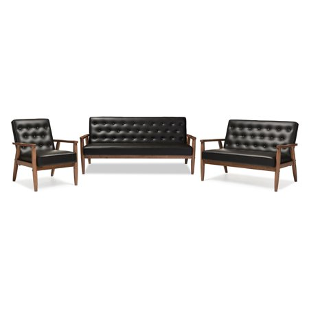 Baxton Studio Sorrento Mid-century Retro Modern Faux Leather Upholstered Wooden 3 Piece Living room Set, Multiple Colors