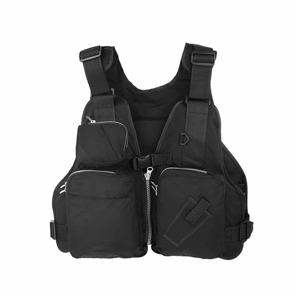 Click here to buy Yosoo Outdoor Wearing Unisex Adults Fishing Aid Life Jacket Vest Lifesaving Black Waistcoat, Fishing Vest, Fishing Life....