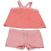 Baby Girls Coral Checker Pattern Sleeveless Top 2 Pc Shorts Set 18M