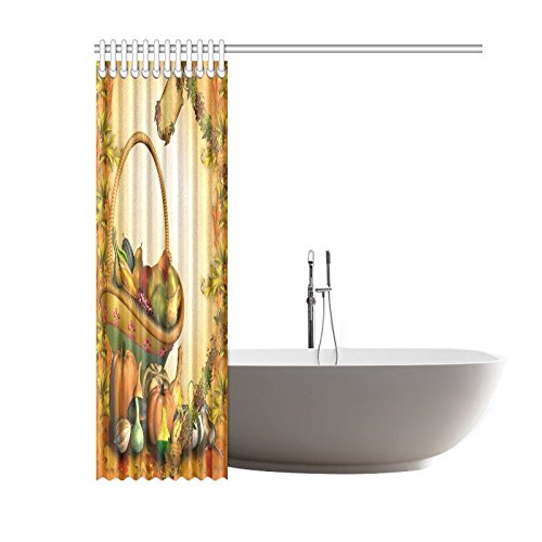 GCKG Autumn Harvest Shower Curtain, Thanksgiving Blanket Pumpkins Polyester Fabric Shower Curtain Bathroom Sets with Hooks 60x72 Inches - image 2 of 3