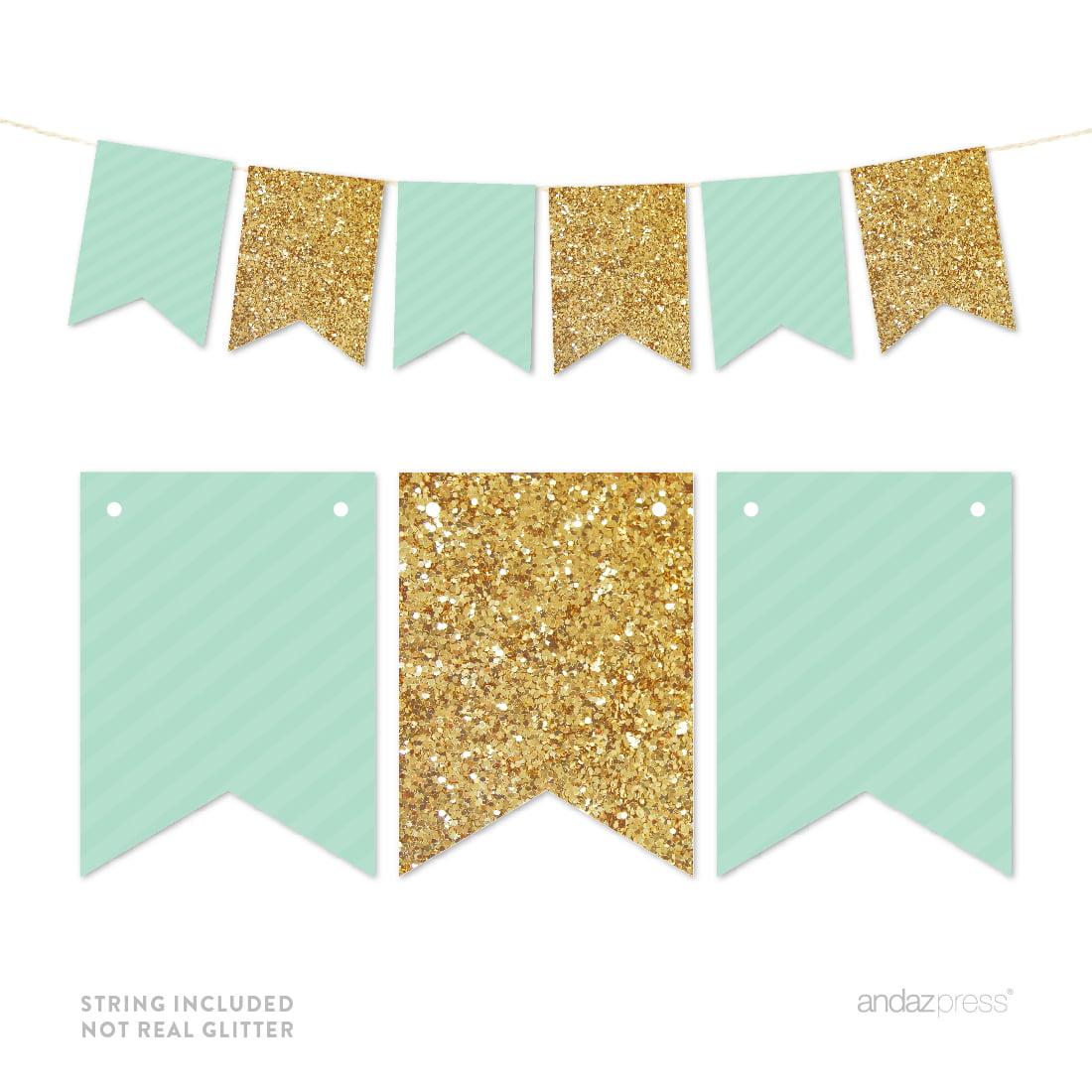 Mint Green Gold Glitter Pennant Party Banner - Walmart.com ...