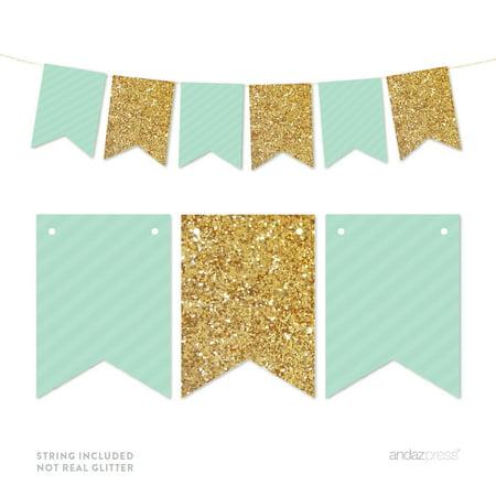 Mint Green Gold Glitter Pennant Party Banner