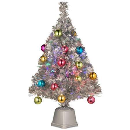 32 Pre lit Silver Tinsel Fiber Optic Artificial Christmas