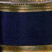 """Navy Blue Grosgrain with Gold Edge Wired Craft Ribbon 1.5"""" x 27 Yards"""
