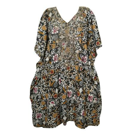 - Mogul Women's Sequin Work Floral Short Caftan Kimono Cover Up Beach Swimwear One Size