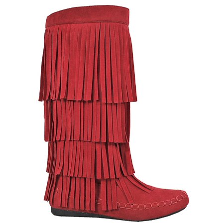 Mudd-55 Womens 4 Layer Fringe Flat Boots Moccasin Mid Calf Comfy Boots Red](Red Boots For Girl)