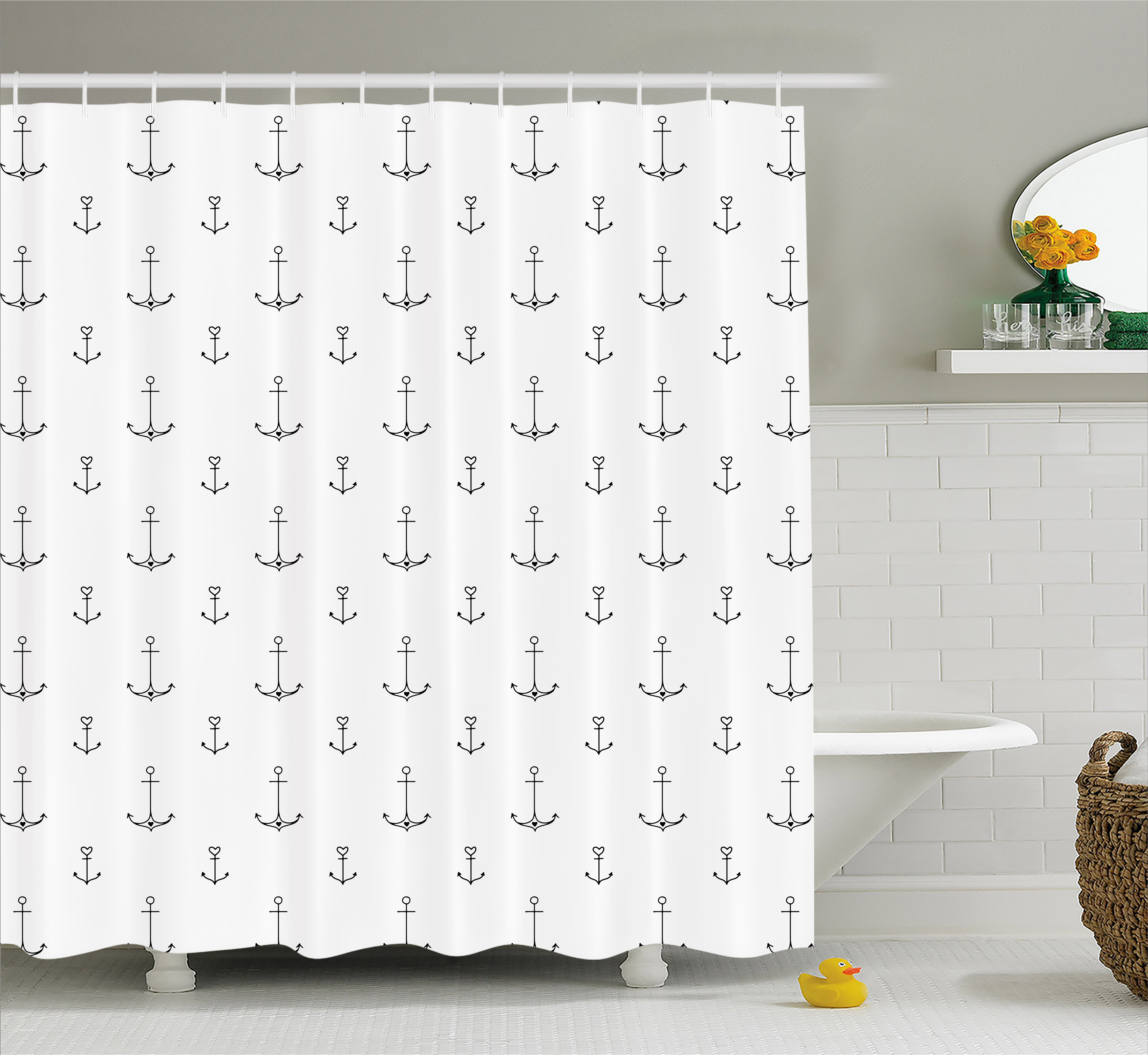 Anchor Shower Curtain, Old School Tattoo Style Hand Drawn Style Nautical Pattern Hipster Retro Art Design, Fabric Bathroom Set with Hooks, Black White, by Ambesonne