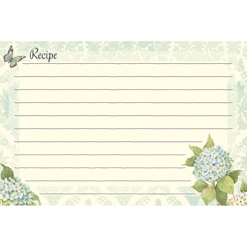 "Lang Blue Hydrangea Recipe Cards, 4"" x 6"", 36-Pack"