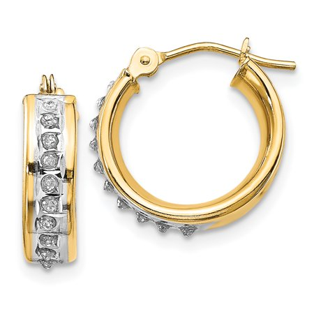 14kt Yellow Gold Diamond Fascination Round Hinged Hoop Earrings Ear Hoops Set Fine Jewelry Ideal Gifts For Women Gift Set From Heart