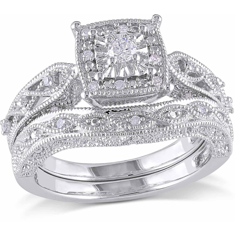 Miabella 1 5 Carat T W Diamond Sterling Silver Halo Bridal Set