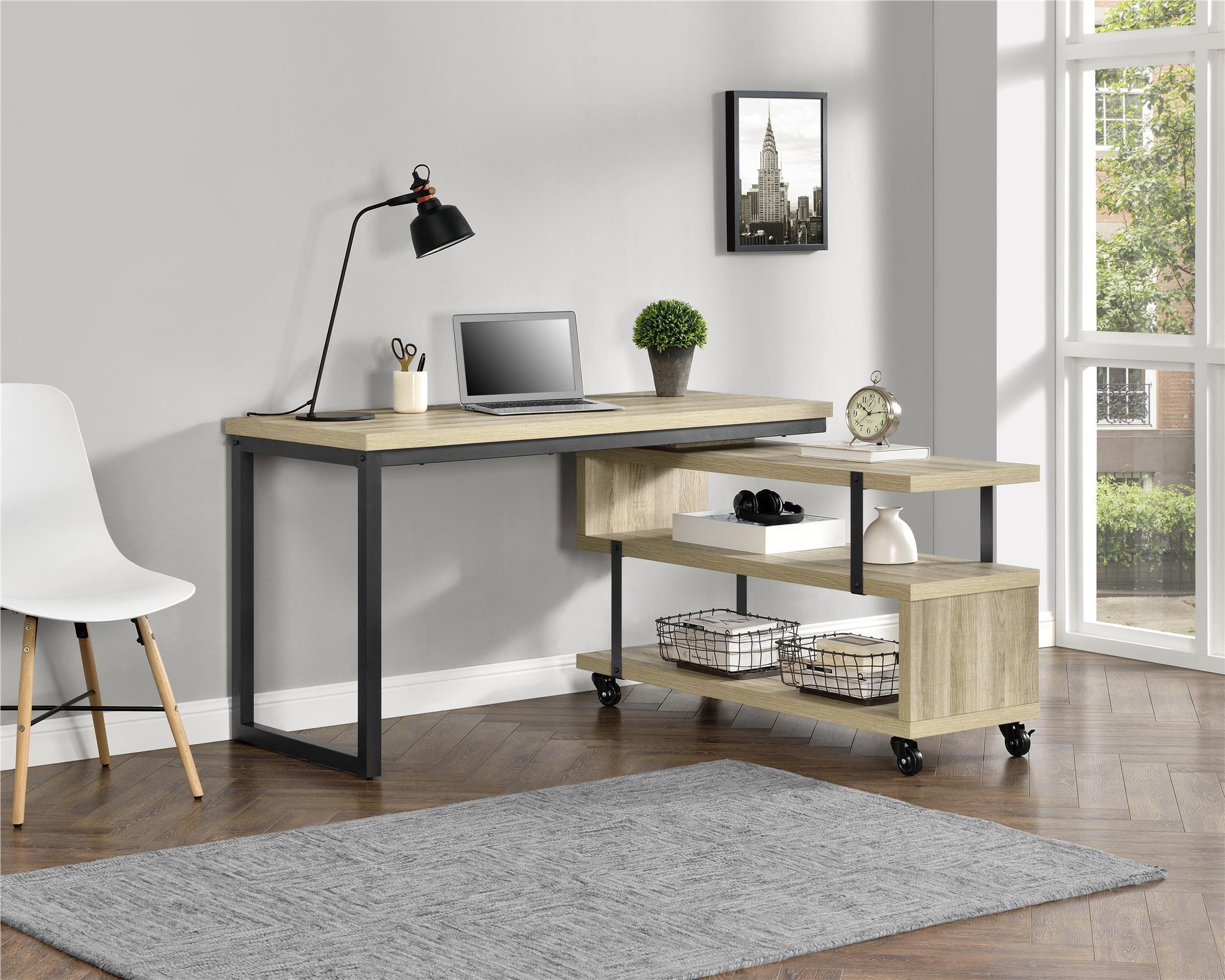 Better homes gardens galloway l shaped desk brown oak walmart com