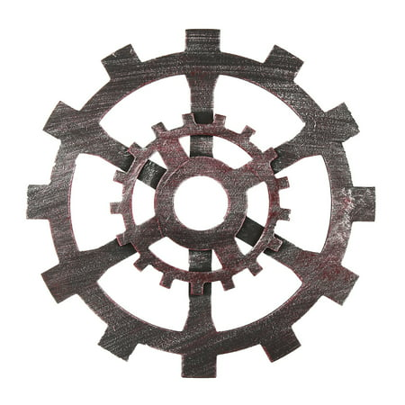 12'' Diameter Wooden Gear Wall Hanging Art Industrial Antique Vintage Chic Home Pub Bar Decor ()
