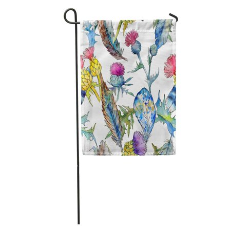SIDONKU Wildflower Thistle Flower Pattern in Watercolor Full Name of The Garden Flag Decorative Flag House Banner 28x40 - Inverted Thistle Pattern