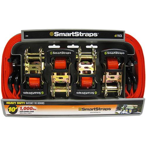 SmartStraps 10' 3000 lbs. Padded Ratchet, Orange 4 Pack