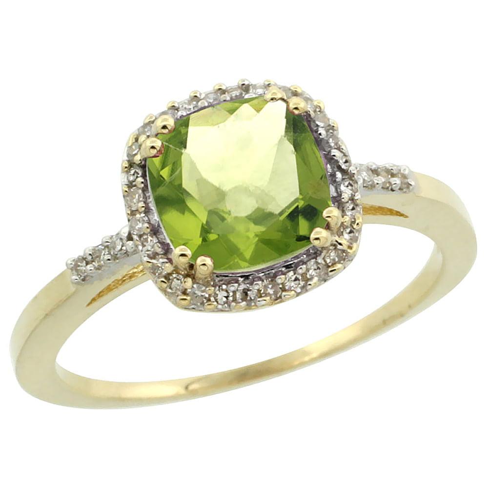 10K Yellow Gold Diamond Natural Peridot Ring Cushion-cut 7x7mm, sizes 5-10 by WorldJewels