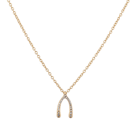 Good Luck Wishes Cards - Lux Accessories Goldtone Wishbone Good Luck Charm Necklace