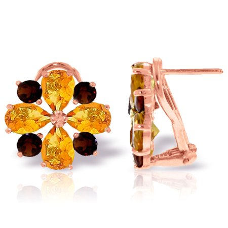 ALARRI 4.85 Carat 14K Solid Rose Gold French Clips Earrings Citrine Garnet.