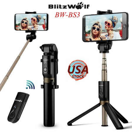 """BlitzWolf 3in1 Extendable Selfie Stick+ Remote Control Shutter + Handheld Monopod Tripod Mount Universal for 3.5""""-6"""" Screen for iPhone Galaxy Smartphone"""