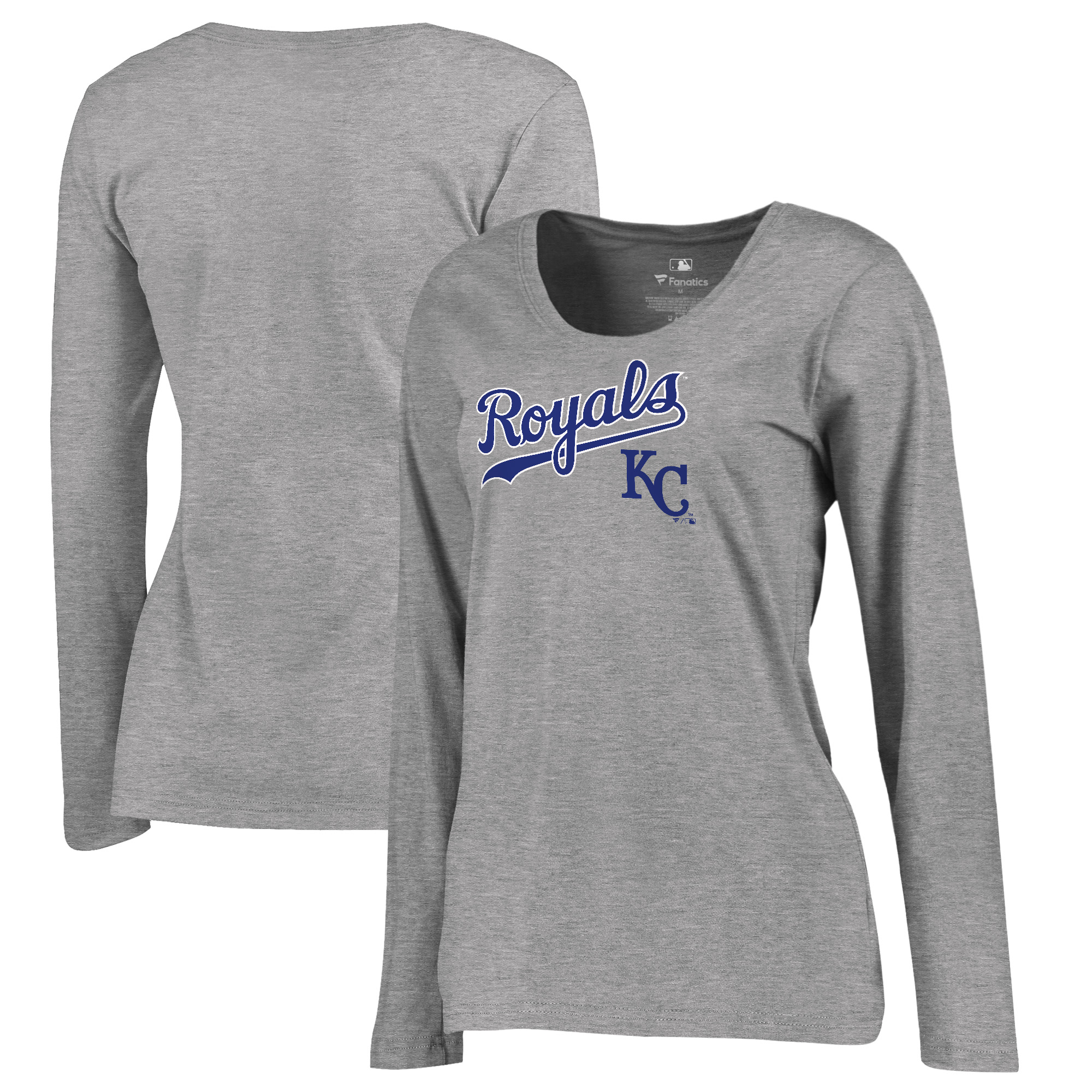 Kansas City Royals Fanatics Branded Women's Plus Size Cooperstown Collection Wahconah Long Sleeve T-Shirt - Heathered Gray