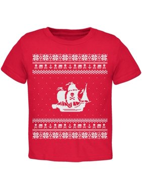 Pirate Ship Ugly Christmas Sweater Red Toddler T-Shirt - 2T
