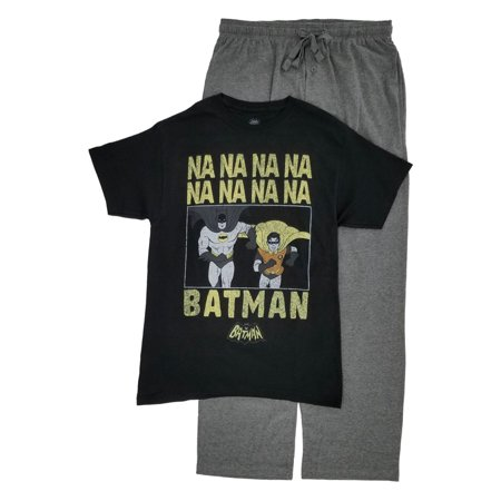 DC Comics Mens 2-Piece Batman & Robin T-Shirt & Pajama Bottoms Sleep Set M - Batman Robe