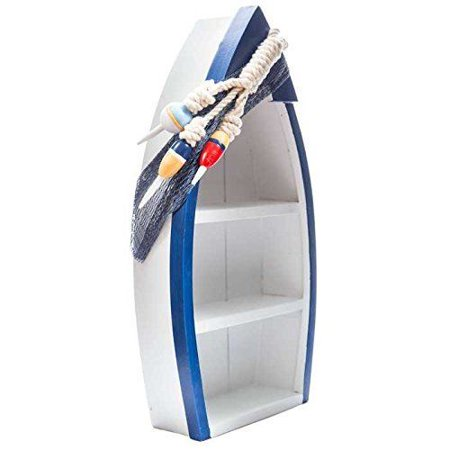 Standing Blue & White Boat Shelf with Buoy Accents ()