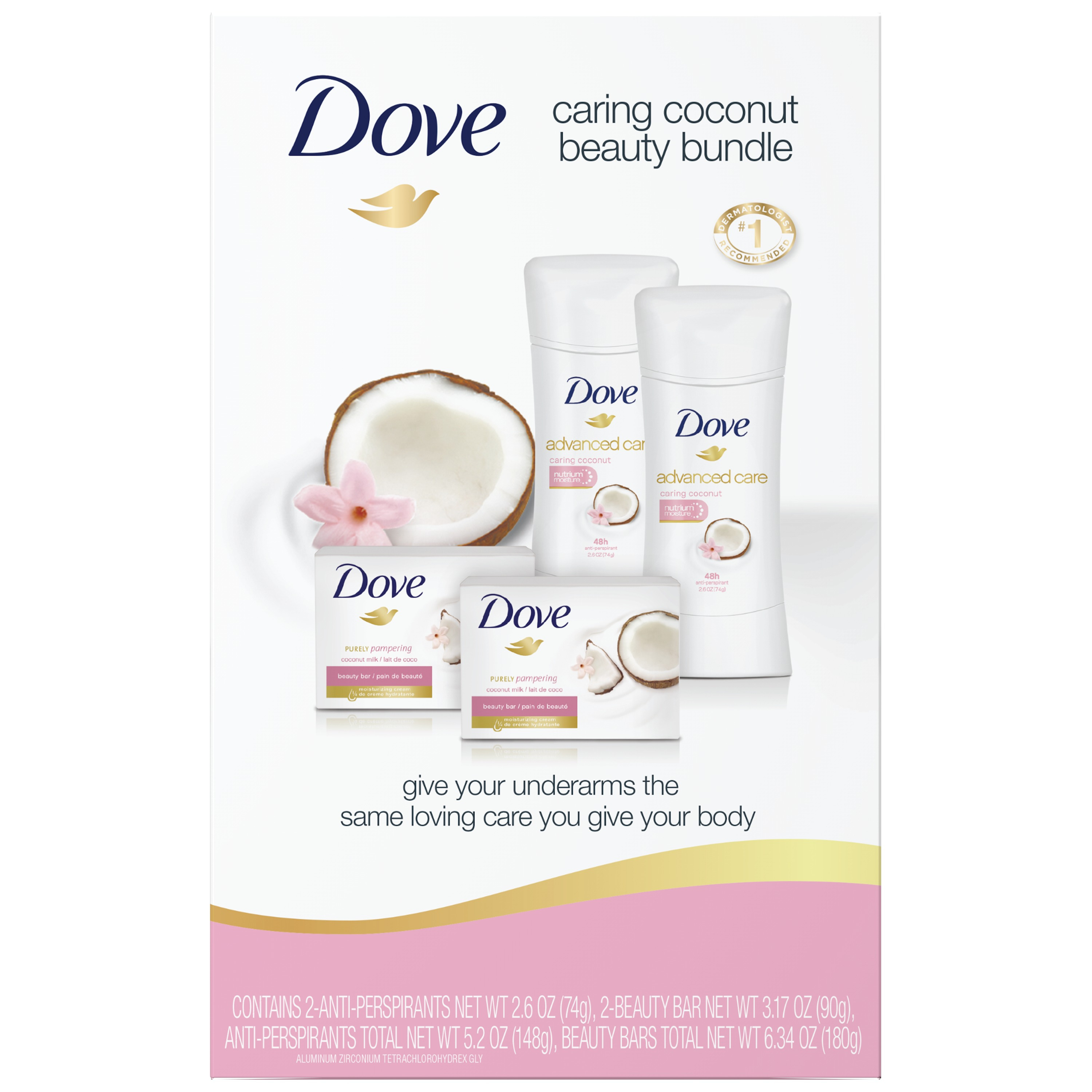 Dove 4-Pc Caring Coconut Beauty Bundle (Beauty Bar x 2, Deo x 2)