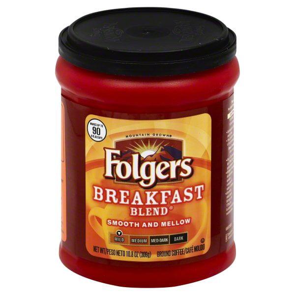 Folgers Breakfast Blend Ground Coffee, 10.8-Ounce