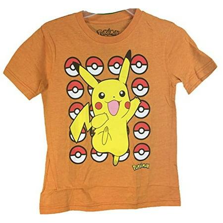 Pokemon Pokeball Pikachu Youth T-Shirt Orange Medium - Pikachu T Shirt