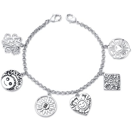 Stainless Steel You Are My Sunshine Charm Link Bracelet,