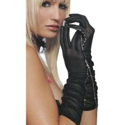 Gloves Sheer Mesh with Rhinestone Trim Ruched SeXy