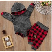 Newborns Winter Warm 2 Pieces Clothes Set Baby Girls Boys Christmas Outfits Long Sleeve Gray Hooded Romper Tops Plaid Long Pants Set 0-18M