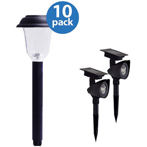 Solar Outdoor Lights Value Pack with 10 Pathway Lights and 2 Spot Lights