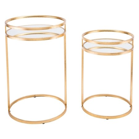 Modern Deco Contemporary Sofa Accent Side End Table Console, Set of 2, Gold, Mirror Steel Art Deco Set Sofa