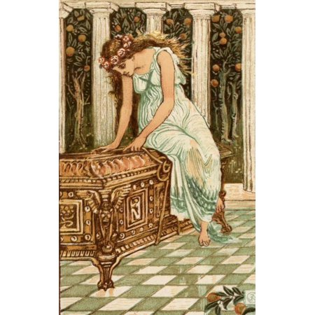 Walter Crane Stretched Canvas Art   A Wonder Book For Girls   Boys 1884 Pandora Wants To Open Box   Large 24 X 36 Inch Wall Art Decor Size