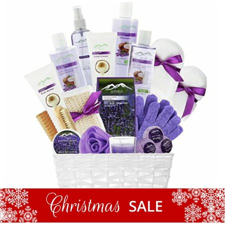 Gift Baskets Canada Spa - 20-Piece Luxury Bath & Body Spa Gift Set, Best Gift for Women! Lavender & Coconut Oils Spa Gift Basket for Women!