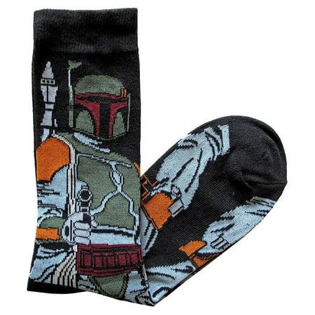 Star Wars Socks Boba Fett Full Pose Men's Crew Socks Shoe Size 6-12