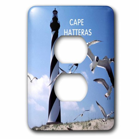 3dRose Cape Hatteras Lighthouse In North Carolina With Birds Flying - 2 Plug Outlet Cover (lsp_80800_6) (Outlet North Carolina)