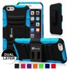 Fintie iPhone 6 / iPhone 6S 4.7 Case - Dual Layer Holster Kickstand and Belt Swivel Clip Cover, Black/Blue
