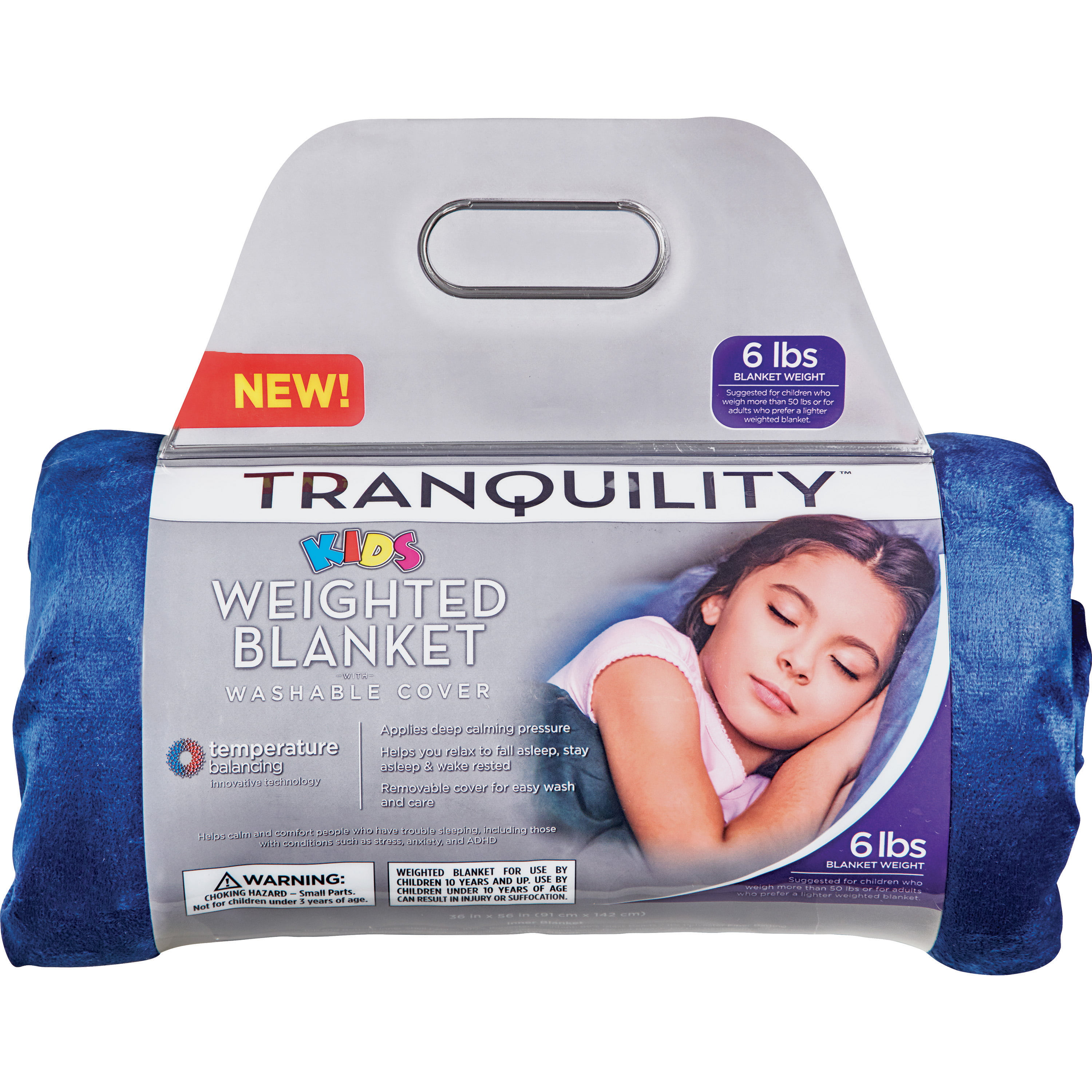 Tranquility Kid S Weighted Blanket 6lbs With Washable Cover Blue Walmart Com Walmart Com
