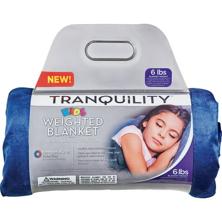 Tranquility Kid's Weighted Blanket, 6Lbs With Washable Cover, Blue