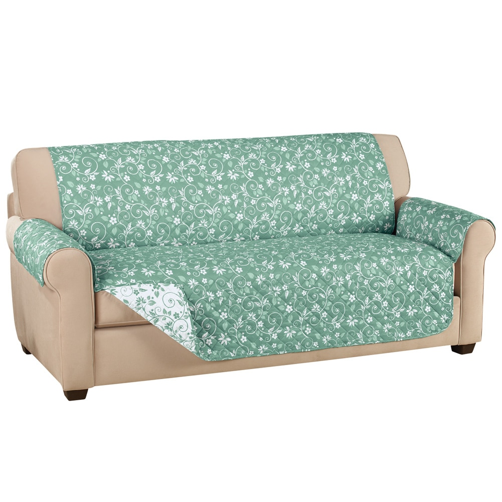 Reversible Floral Scroll Furniture Protector Cover, Sofa, Sage