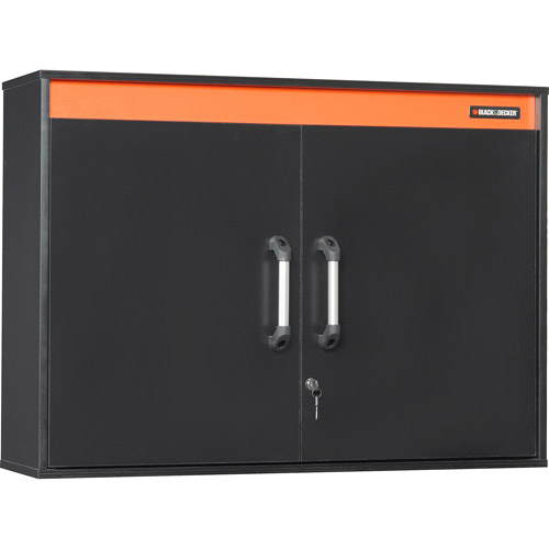 "Black & Decker Hitch Cap 2-Door Wall Cabinet, 41-1/8""W x 11-3/4""D x 29-3/4""H, Black Laminate Finish"